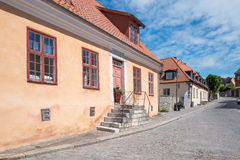 Medieval Hanse town Visby on Gotland. Visby, Sweden - July 8, 2016: Medieval street in Visby. Visby is a historic Hanse town and a major tourist destination on Stock Image