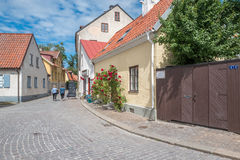 Medieval Hanse town Visby on Gotland. Visby, Sweden - July 8, 2016: Medieval street in Visby. Visby is a historic Hanse town and a major tourist destination on Stock Images
