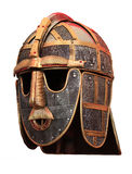 Medieval head armour knights helmet. Historical headgear worn by warriors in black and gold metal Stock Photography