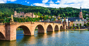 Medieval Heidelberg - view of famous Karl Theodor bridge and ca. Beautiful medieval heidelberg town,Germany,view with old bridge and church royalty free stock photos