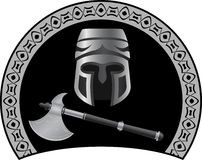 Medieval helmet with axe Royalty Free Stock Image