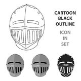 Medieval helmet icon cartoon. Single weapon icon from the big ammunition, arms set. Stock Images