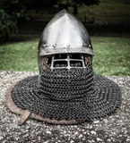 Medieval helmet Stock Images