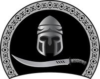 Medieval helmet with sword Stock Photography