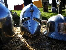 Medieval  helmets Stock Photo
