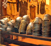 Medieval helmets Stock Images