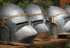 Medieval helmets Royalty Free Stock Images