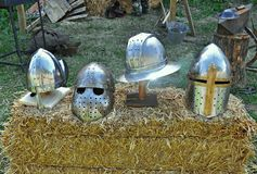 Medieval helmets Royalty Free Stock Photography