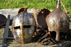Medieval helmets and sword Stock Photography