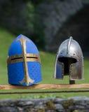 Medieval helmets Stock Image