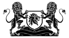 Crest Lion Shield Coat of Arms Heraldic Emblem. A medieval heraldic coat of arms emblem featuring lion supporters flanking a shield charge in a vintage retro vector illustration