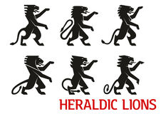 Medieval heraldic lions with raised forepaws Royalty Free Stock Photography