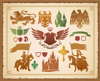 Medieval heraldic set Stock Photo