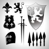 Medieval heraldic set Stock Images