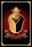 Heraldic shield ornate golden ornament Royalty Free Stock Images