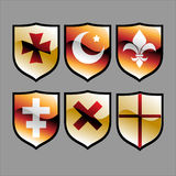 Medieval heraldic shields Stock Photos