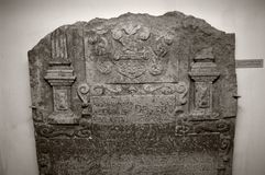 Medieval heraldic stone carving. Heraldic stone carving from the medieval Livonia, Latvia Royalty Free Stock Image