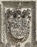 Medieval heraldry symbology with knight heads Stock Images