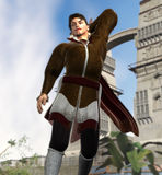 Medieval hero strutting Stock Image