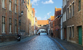 Medieval historic street with original brick Gothic architecture Stock Photography