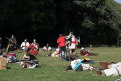Medieval historical re-enactment with men in armor Stock Photo