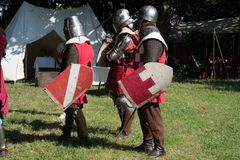 Medieval historical re-enactment with men in armor Royalty Free Stock Images