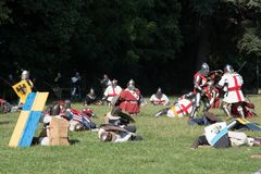 Medieval historical re-enactment with men in armor Royalty Free Stock Photos