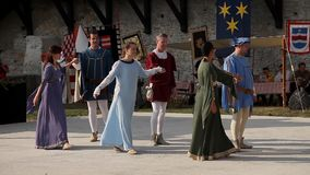 Medieval historical reenactment stock video footage