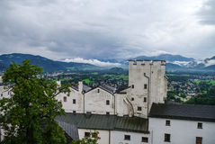 Medieval Hohensalzburg Castle (Festung Hohensalzburg). Aerial vi. Ew from castle tower to castles details and landscapes of Salzburger Land, Austria Royalty Free Stock Image
