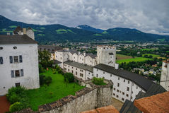 Medieval Hohensalzburg Castle (Festung Hohensalzburg). Aerial vi. Ew from castle tower to castles details and landscapes of Salzburger Land, Austria Royalty Free Stock Photography