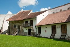 Medieval Homes Inside A Rural Romanian Fortress Royalty Free Stock Photo