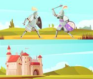 Medieval Horizontal Cartoon Banners Set. With castle and fighting knights in full body armor suits vector illustration Royalty Free Stock Photo