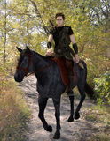 Medieval horseman traveler. 3d render of a handsome armored horseman traveling through the autumn forest Royalty Free Stock Photos