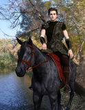 Medieval horseman traveler. 3d render of a handsome armored horseman traveling through the autumn forest Stock Image