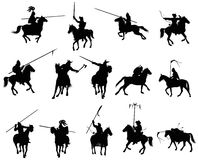 Medieval horsemen. Collection of medieval horsemen warriors. Vector silhouettes Royalty Free Stock Photography