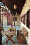 Medieval hotel outdoor pub Royalty Free Stock Image