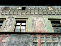 MEDIEVAL HOUSE. Painted wall in a medieval  house in Levoca Royalty Free Stock Photos