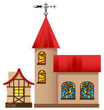 Medieval house and church Royalty Free Stock Images