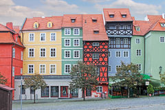 Medieval House. Market Square In Cheb, Czech Republic. Group of medieval houses on main market square in Cheb, Czech republic. Half-timbered houses stock photo