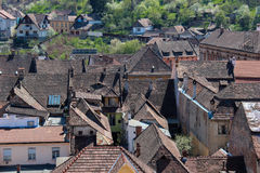 Medieval House Rooftops in Sighisoara, Romania Royalty Free Stock Images