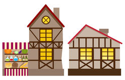 Medieval house and shop Royalty Free Stock Photos
