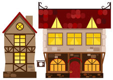 Medieval house and tavern. Vector illustration Stock Photo