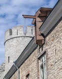 Medieval house and tower of old Tallin Stock Photos