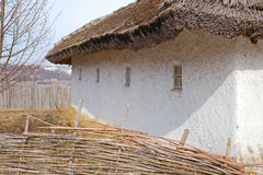 Medieval house in Ukrainian style. Rural courtyard , the interior in the Ukrainian style , Ukrainian village , a traditional countryside style Royalty Free Stock Photo