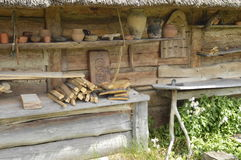 Medieval house. Wolin, Poland: Replica of medieval house stock images