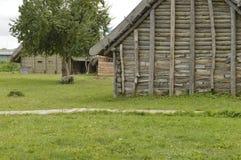 Medieval house. Wolin, Poland: Replica of medieval house stock photos