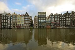 Medieval houses in Amsterdam city Netherlands Royalty Free Stock Photos