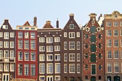 Medieval houses in Amsterdam citycenter the Nether Royalty Free Stock Photography