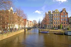 Medieval houses in Amsterdam citycenter the Nether Stock Images