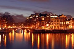 Medieval houses in Amsterdam Netherlands. At night Stock Images